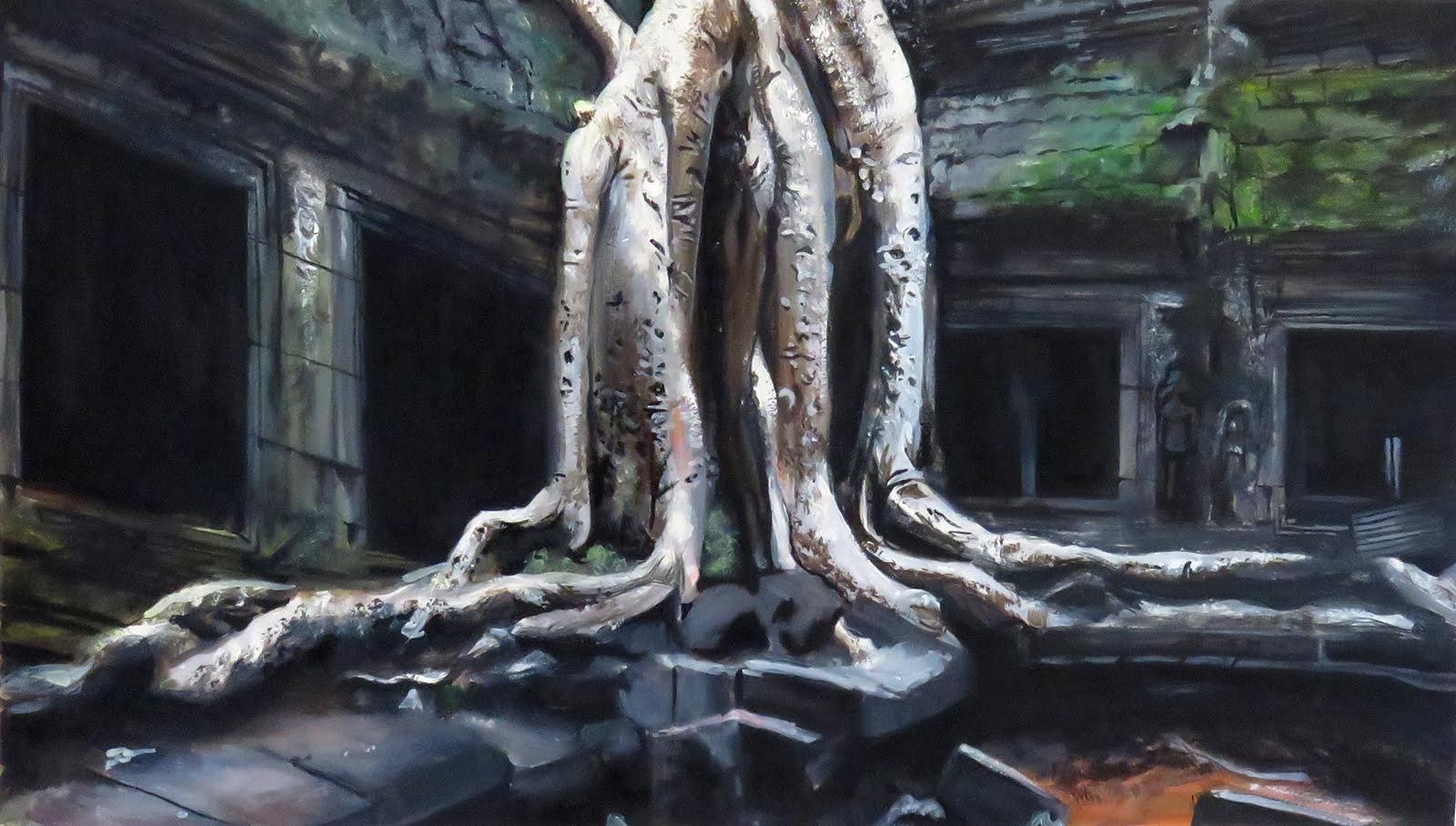 Angkor watercolour painting