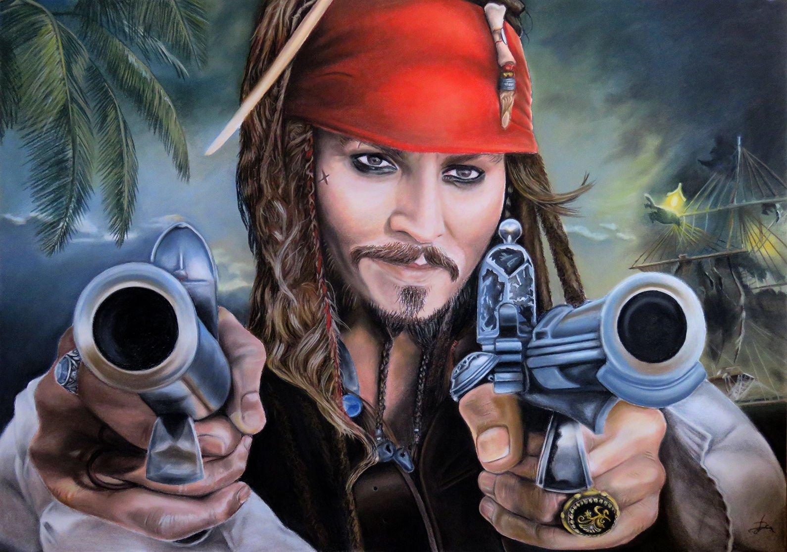 Jack Sparrow pastel pencil drawing